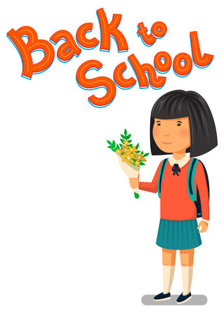 first year student: Schoolgirl and Back to school text template. Happy asian schoolgirl with backpack holding bouquet of flowers for her teacher. Elementary school student. Flat cartoon illustration. First school year. Back to school card illustration