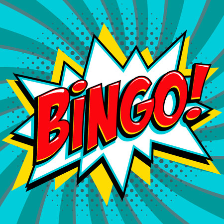 Bingo lottery poster. Lottery game background. Comics pop-art style bang shape on a blue twisted background.