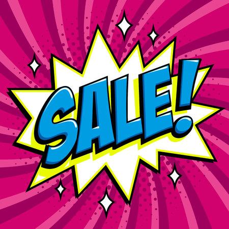 Purple sale web banner. Pop art comic sale discount promotion banner.