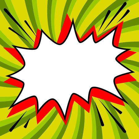 ポップアート スタイル音声バブル テンプレートあなたの設計のための。漫画 pop アート スタイル空は、緑のツイスト背景図形を強打します。イラス