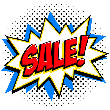 Comics style sale tag. Red sale web banner. Pop art comic sale discount promotion banner. Big sale background. Decorative background with bomb explosive. Comics pop-art style bang shape on halftone background. Ideal for web banners. Vector illustration.  イラスト・ベクター素材