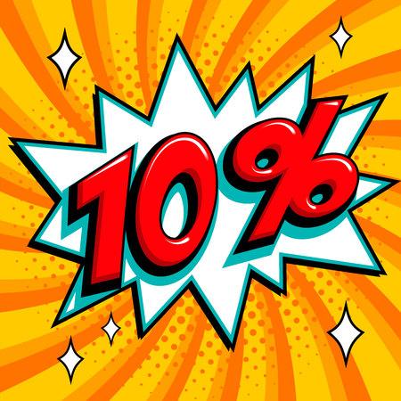Orange sale web banner. Sale ten percent 10 off on a Comics pop-art style bang shape on orange twisted background. Big sale background. Pop art comic sale discount promotion banner. Seasonal discounts, Black Friday, the interest rate, etc. Perfect for tag Illustration