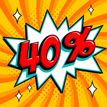 Orange sale web banner. Sale forty percent off on a comics pop-art style bang shape on yellow twisted background. Big sale background. Pop art comic sale discount promotion banner. Seasonal discounts, Black Friday, the interest rate, etc. Perfect for tags