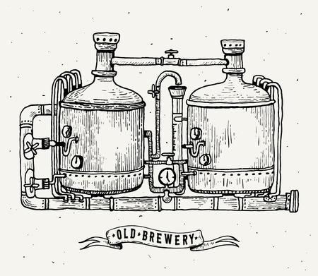 Retro brewery engraving. Copper tanks and barrels in brewery beer. Local brewery. Vintage vector engraving illustration for web, poster, label, invitation to oktoberfest festival, party. Vector illustration.