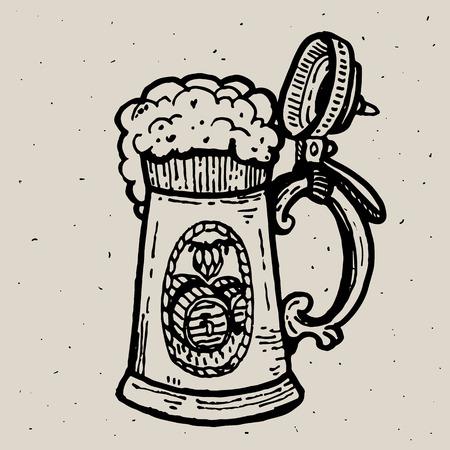 Retro-Stil Bierkrug oder Glas Gravur. Lokale Brauerei. Vintage-Vektor Gravur Illustration für Web, Poster, Label, Einladung zum Oktoberfest Festival, Party. Bier Pint Skizze Stil Abbildung. Alte Stichnachahmung. Gezeichnete Tintenskizze des Bierbechers Hand. Vektorgrafik