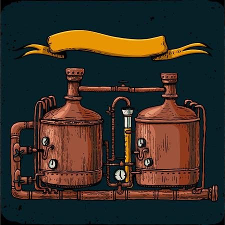 Retro grawerowanie browaru. Zbiorniki miedziane i beczki w piwie browarniczej.