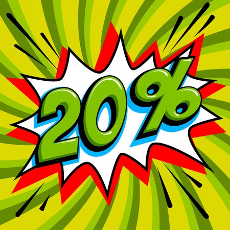 20 off. Twenty percent 20 off sale on green pop art background. Comics pop-art style bang shape. Seasonal sale banner. falling prices discounts. Vector illustration