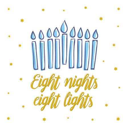 Happy Hanukkah, eight nights eight lights gold lettering. Jewish holiday elegant greeting card template with menorah. Flyer, poster, banner, party invitation design. Vector illustration 版權商用圖片
