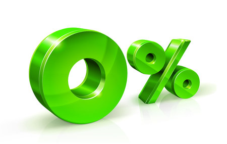 Green zero percent or 0 isolated on white background with reflection. Zero percent interest rate, tax. 3D style Vector illustration. Иллюстрация