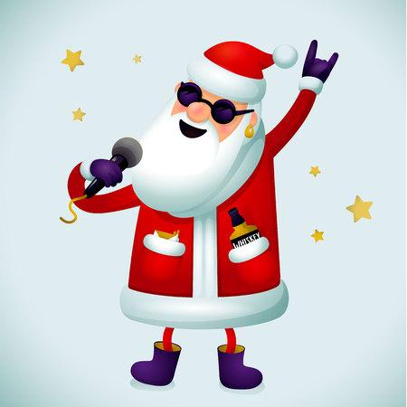 Rock'n'Roll Santa Charakter. Singender Weihnachtsmann - Rockstar mit Mikrofon auf hellem Hintergrund. Weihnachtshippie-Plakat für Partei mit oder Weihnachtsgrußkarten- oder -web-Fahne, was auch immer. Vektor-Illustration.