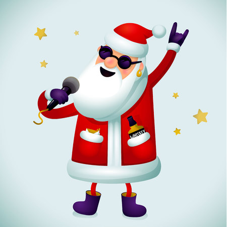 Rock n roll Santa character. Singing Santa Claus - rock star with microphone on light background. Christmas hipster poster for party with or Xmas greeting card or web banner, whatever. Vector illustration.
