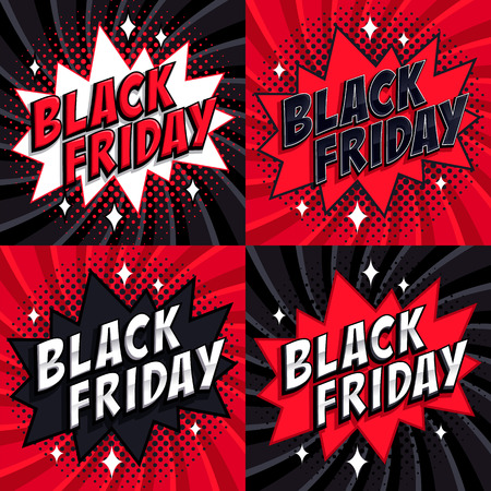 Black Friday sale set. Comic style template banners. 4 Black friday inscription on black and red backgrounds. Pop-art comics style web banners, flash animation. Vector illustration Illustration