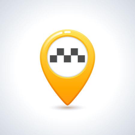 Vector taxi icon. Map pin with taxi checks sign. Vector illustration