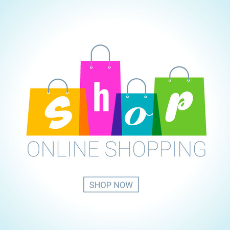 online winkelen. Shopping Bags-logo met winkelinschrijving. Internet winkelconcept. Vector illustratie