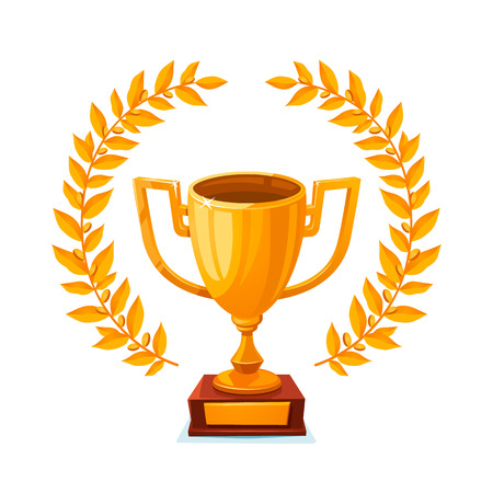 Golden trophy cup. first place winner award with laurel wreath. Gold goblet. vector illustration