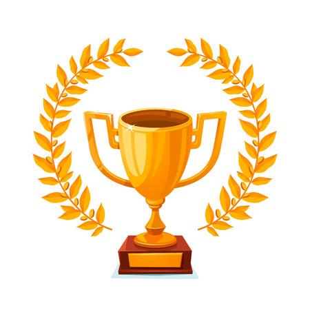 Gouden trofee beker. eerste plaats winnaarsprijs met lauwerkrans. Gouden bokaal. vectorillustratie Stock Illustratie