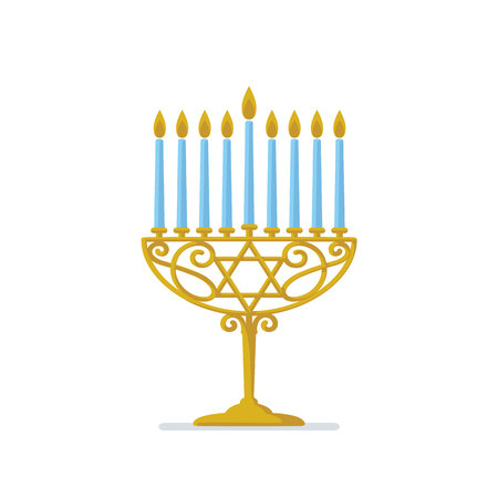 Hanukkah gold menorah concept design. Illustration