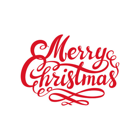 Red Merry Christmas text. Calligraphic Lettering design card template. Creative typography for Holiday Greeting. Usable as poster, web banner, greeting card, gift package etc. Vector illustration