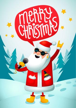 Rock-n-roll Kerstman. Zingende Kerstman - rotsster met vrolijke de tekstballon van de Kerstmistekst op blauwe Kerstmisachtergrond. Kerst hipster poster voor feest. Xmas wenskaart. Vector illustratie.