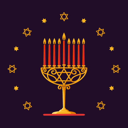 Happy Hanukkah. Gold menorah with red candles and stars on dark background for your greeting card design. Vector illustration