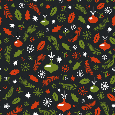 Seamless Christmas pattern. Wrapping paper design. Christmas decoration elements. New year party. vector illustration