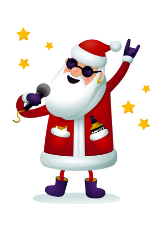 Roc-n-roll Santa character. Singing Santa Claus or Ded moroz - rock star with microphone isolated on white background. Christmas poster for party with or Xmas greeting card or new year web banner, whatever. Vector illustration.