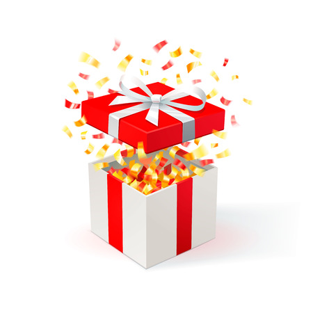 White Gift Box with red cover and gold confetti. Open gift box. festive background. Free delivery, bargain, special offer. Vector Illustration. Illusztráció