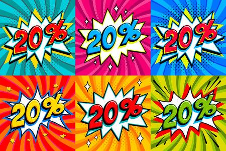 Sale set. Sale twenty percent 20 off tags on a Comics style bang shape background. Pop art comic discount promotion banners. Seasonal discounts, Black Friday, cyber monday. Vector illustration
