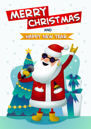 Cool rock star Santa. Singing karaoke Santa Claus with merry christmas and Happy New Year inscription. Christmas tree and presents on background. Christmas poster for party Xmas greeting card. Vector Ilustração