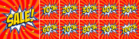 Big red sale set. Sale inscription and all percent numbers. Yellow and red colors. Pop-art comics style web banners, flash animation, stickers, tags. Vector illustration Illustration