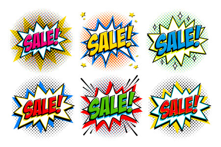 Sale set. Comic style pop art template banners. 6 Sale inscriptions on comics bang shapes and halftones. Pop-art comics style web banners, flash animation, tag, sticker. Vector illustration Illustration