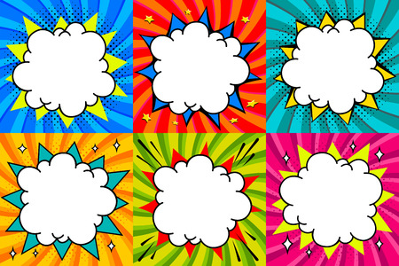 Speech bubbles set. Pop art styled blank speech bubbles template for your design. Clear empty bang comic speech bubbles on colored twisted backgrounds. Ideal for web banners. Vector illustration