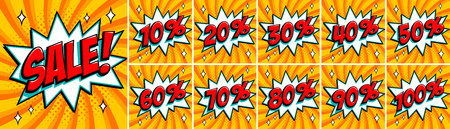 Big orange color sale set. Sale inscription and all percent % numbers. orange and red colors. Pop-art comics style web banners, flash animation, stickers, tags. Vector illustration  イラスト・ベクター素材