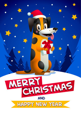 Cute dog with Merry Christmas and Happy new year inscription. Stylish yellow dog with santa claus red hat on blue christmas background. Winter Season Greetings concept. Symbol of the year 2018. Vector illustration.