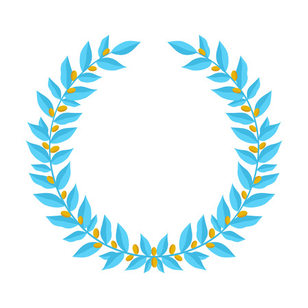 황금 열매와 블루 월계관입니다. 빈티지 화 환 전 령 디자인 요소와 꽃 프레임 흰색 배경에 골드 열매 로렐 지점의 구성. 승자 또는 용기와 마음의 상징