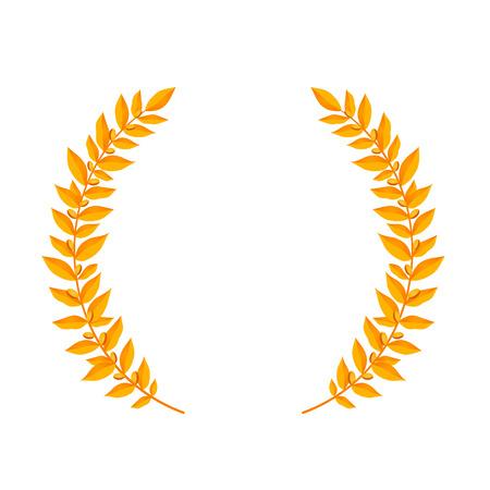 Gold laurel wreath. Vintage wreaths heraldic design elements with floral frames made up of laurel branches on white background. Symbol of winner or valor and mind. Vector illustration