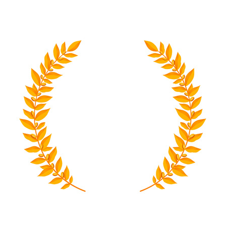 Gold laurel wreath. Vintage wreaths heraldic design elements with floral frames made up of laurel branches on white background. Symbol of winner or valor and mind. Vector illustration