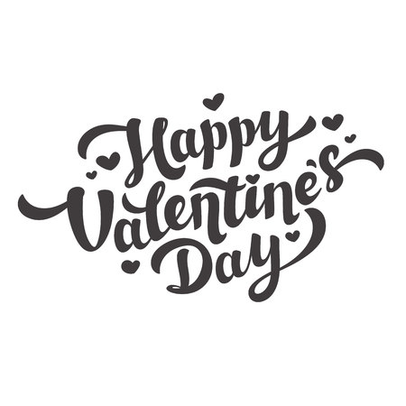 Happy Valentines Day Lettering. 14th of february. Black and White. Vector illustration.