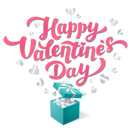 Sant Valentines Day greeting card. Pink Happy Valentines day text and Gift box in Robin egg blue color with silver confetti hearts on white background. Vector illustration