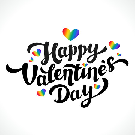 Lgbt community Happy Valentines Day design. 14th of february. Rainbow hearts and Happy Valentines Day lettering on white background. Vector illustration.
