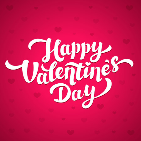 Happy Valentines Day Lettering. 14th of february greeting card. White inscription on pink background with hearts. Vector illustration.