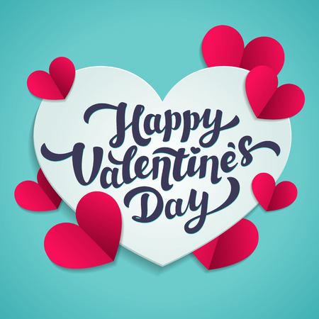 Valentine s Day greeting card. 14th of february. Happy Valentines Day Lettering with cut paper hearts on blue background. abstract background. Vector illustration. Illustration