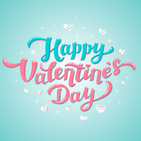 Happy Valentines Day Lettering. 14th of february greeting card. Glossy lettering with silver hearts on blue background. Vector illustration.