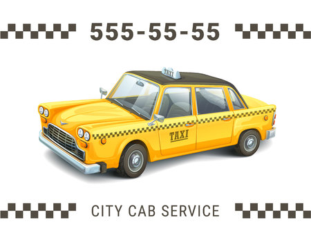 Taxi service design. Detailed illustration of yellow taxi car on white background. Banner, poster business card or flyer. Vector illustration Illustration