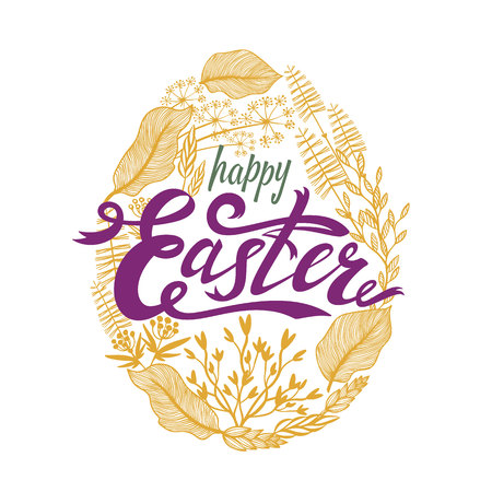 Easter design with floral frame in egg shape. Herbal wreath. Perfect for season greeting cards and banners. Vector illustration Illustration