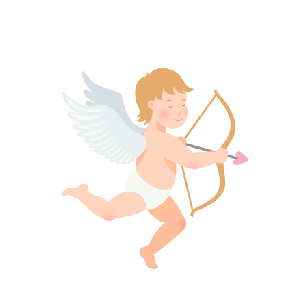 Valentine s Day illustration of funny cupid with bow and arrow on white background. vector illustration