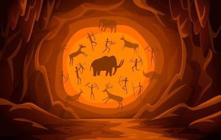 Cueva prehistórica con dibujos rupestres. Fondo de escena de montaña de dibujos animados Pinturas rupestres primitivas. petroglifos antiguos Ilustración vectorial Ilustración de vector