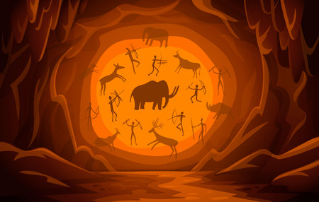 Prehistoric Cave with cave drawings. Cartoon mountain scene background Primitive cave paintings. ancient petroglyphs. Vector illustration. Stock Illustratie