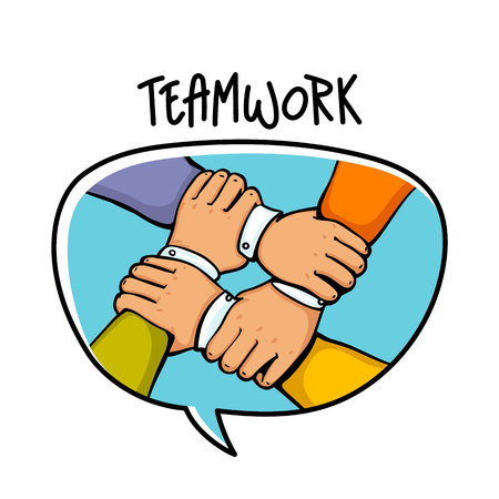 Team building concept. A stack of business hands cartoon style vector illustration.