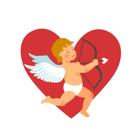Valentines Day design. funny cupid with bow and arrow on red heart background. vector illustration